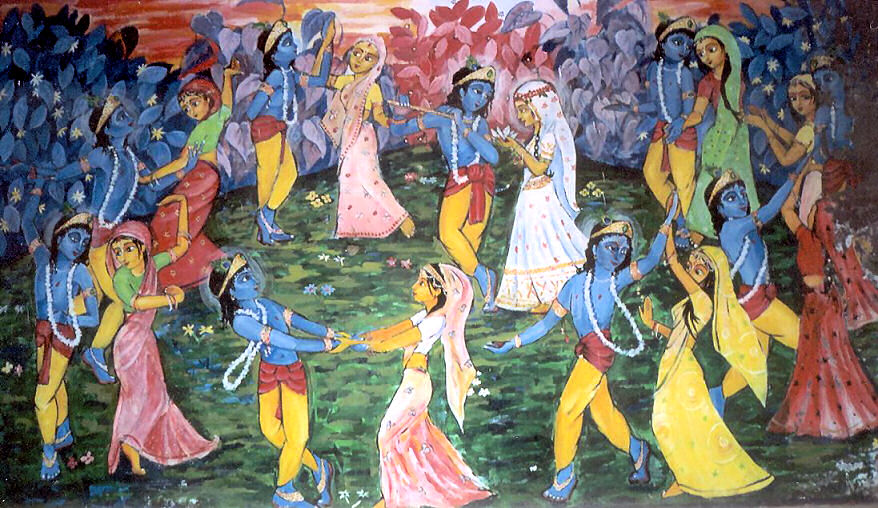 Krishna dancing with Gopis in a circle