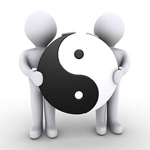 Yin Yang Symbol between two characters