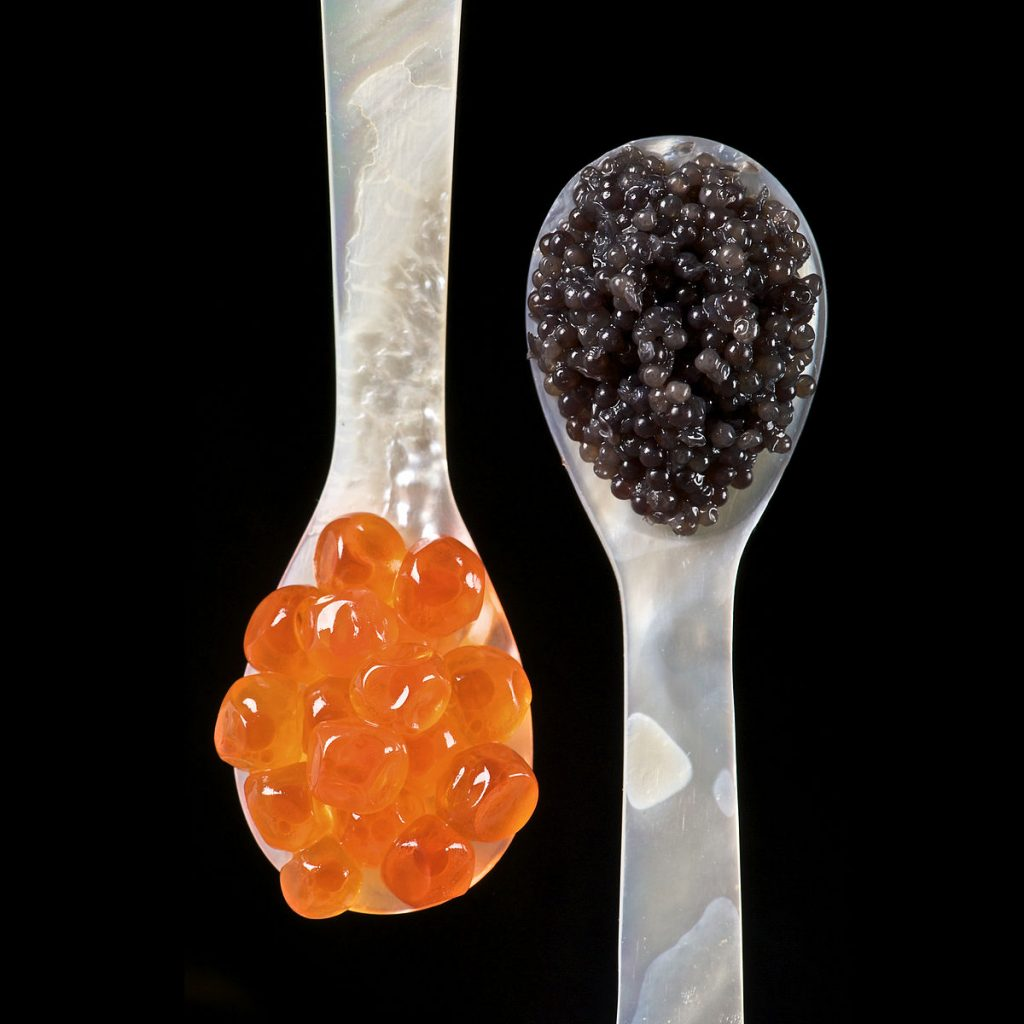 caviar on spoons