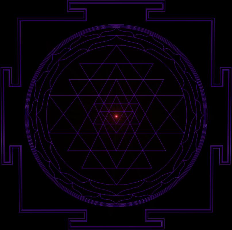 Sri Yantra Purple Black