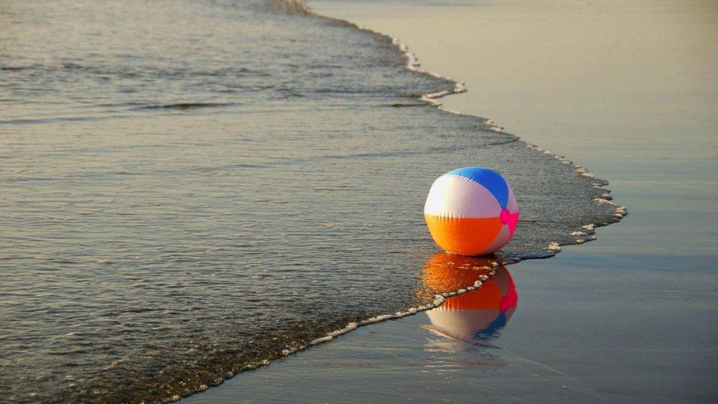 Beach Ball Waves Shore