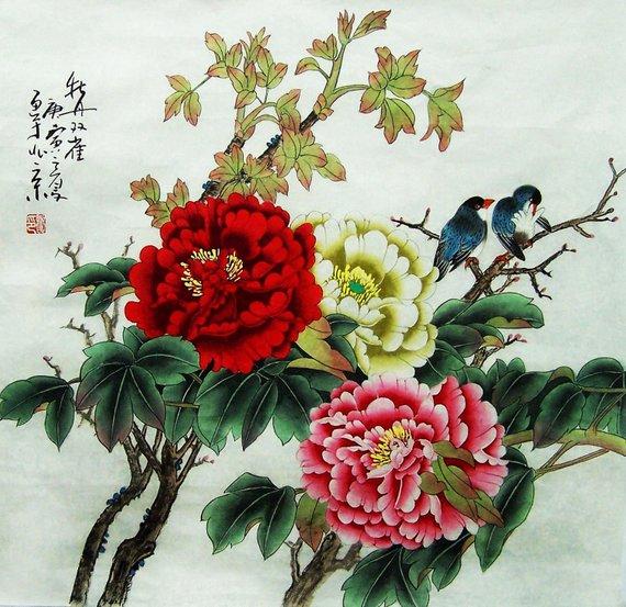 Peonies & Birds Chinese Painting