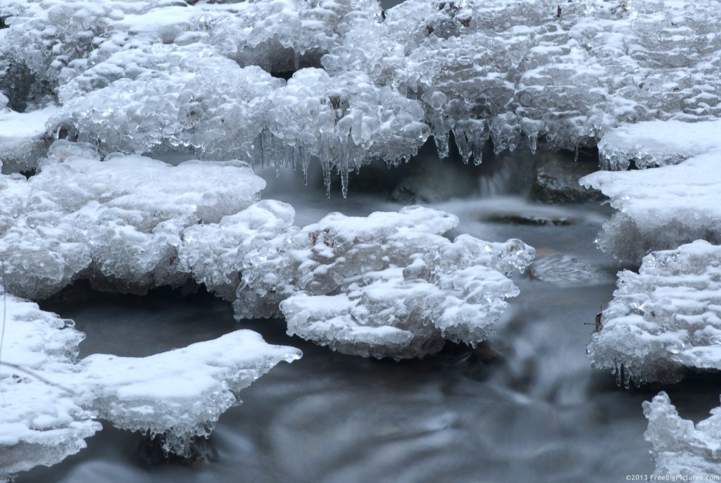winter stream ice crystals