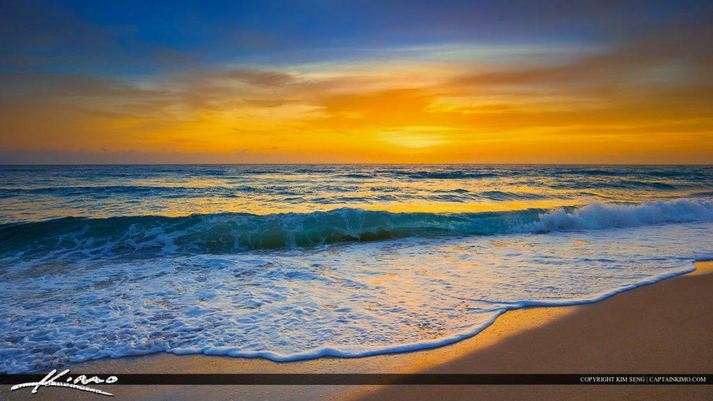 Ocean waves beach sunrise