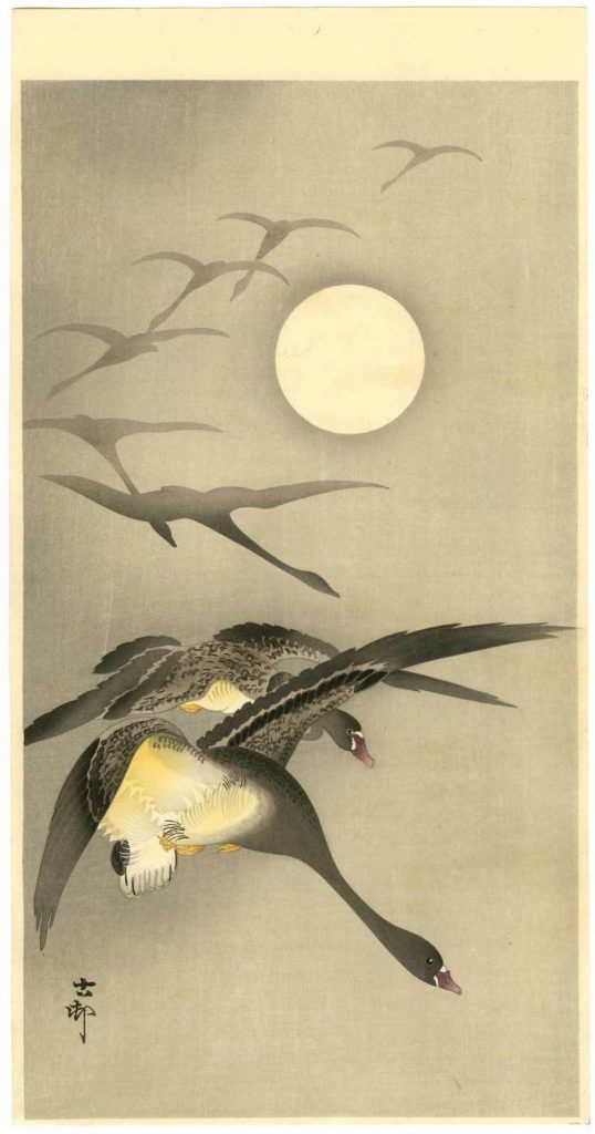 Geese in Moonlight painting