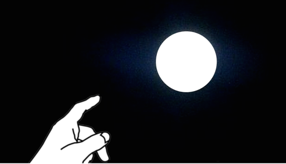 finger pointing toward moon