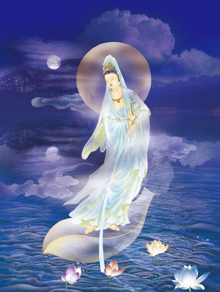 Guan Yin moon and lotuses