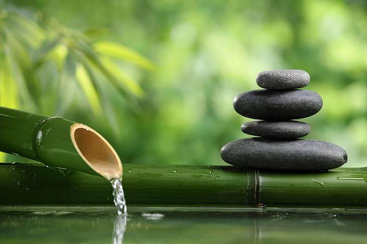 bamboo fountain stones