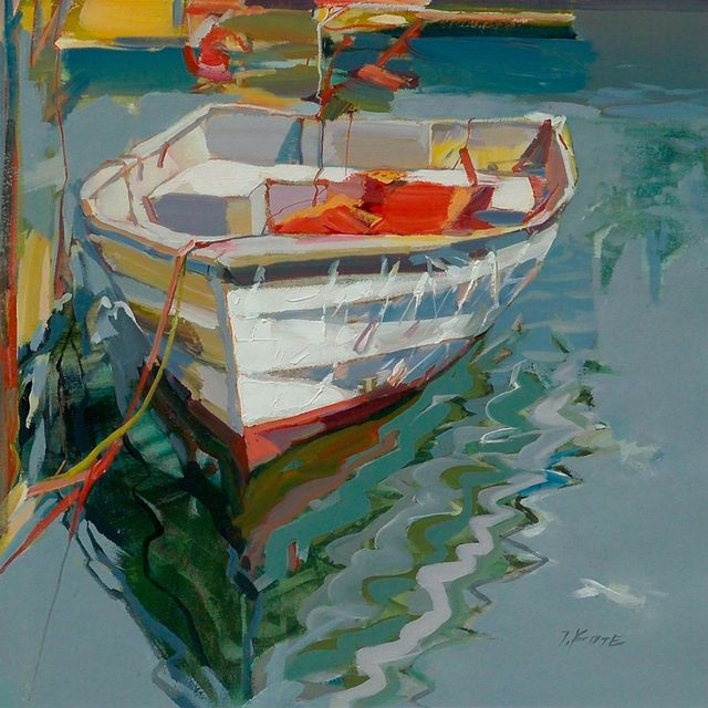 rowboat at dock painting