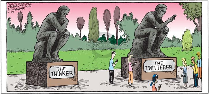 The Thinker the Twitterer cartoon