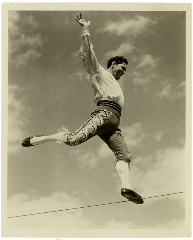 acrobat on high-wire outside