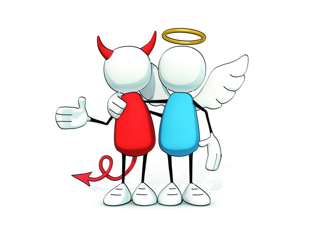 angel & devil embracing
