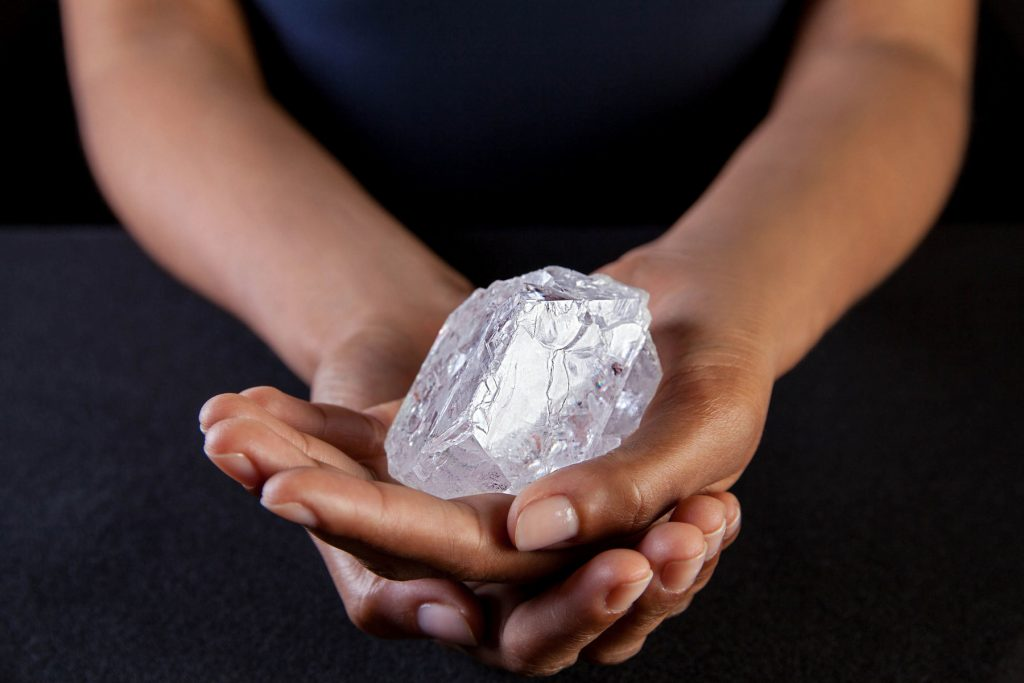 large diamond in hands