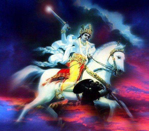 Kalki Avatar on horse in space