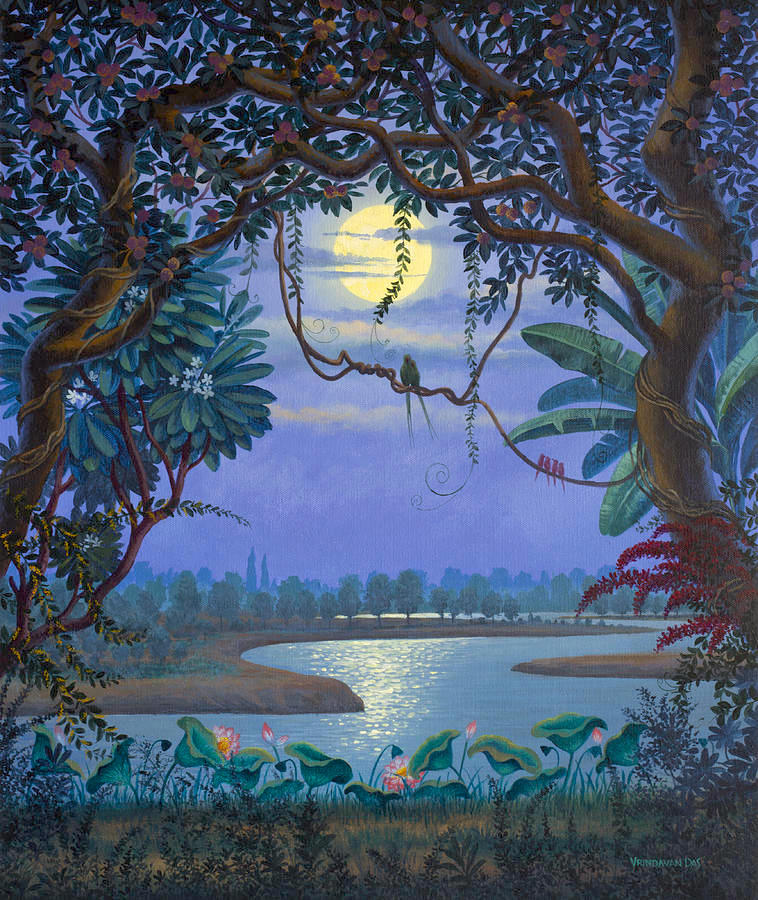 Krishna's forest, river, moon