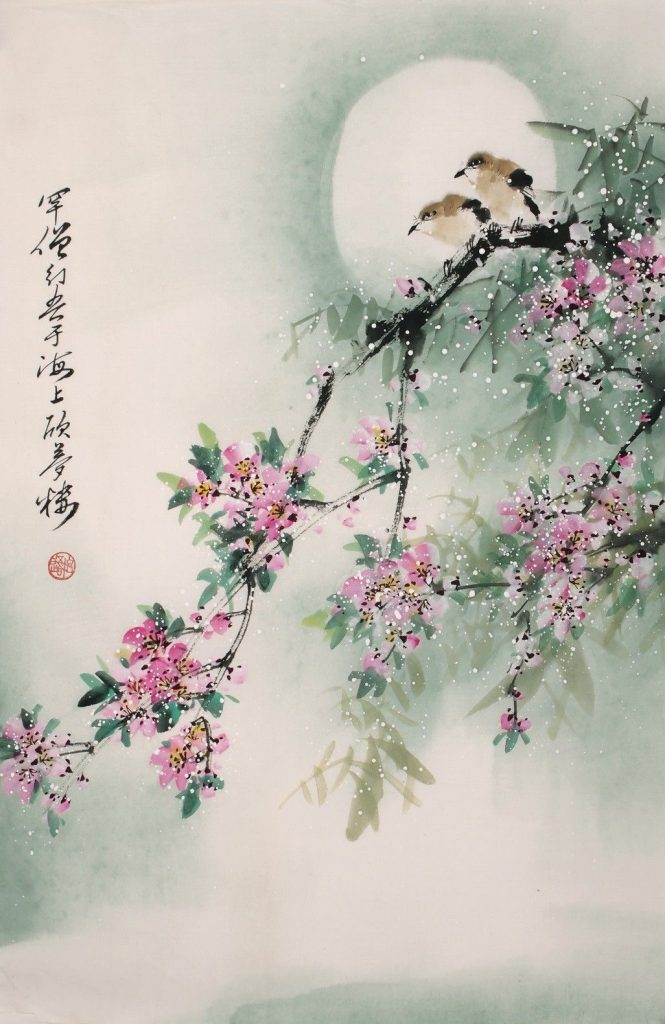 Birds on branch with peach blossoms painting