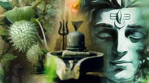 Shiva Lingam trident datura