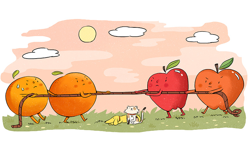 apples & oranges cartoon