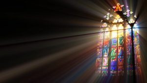 sun through stained glass window
